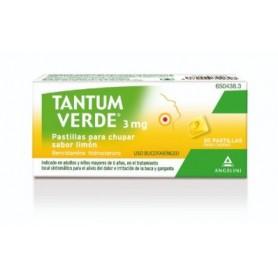 TANTUM VERDE 3 MG PASTILLAS PARA CHUPAR SABOR LIMON , 20 PASTILLAS